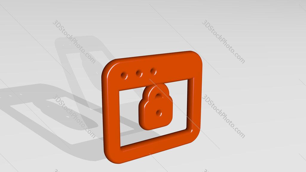 app window lock 3D icon casting shadow