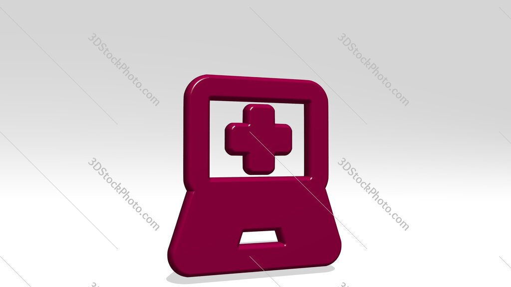 medical app laptop 3D icon casting shadow