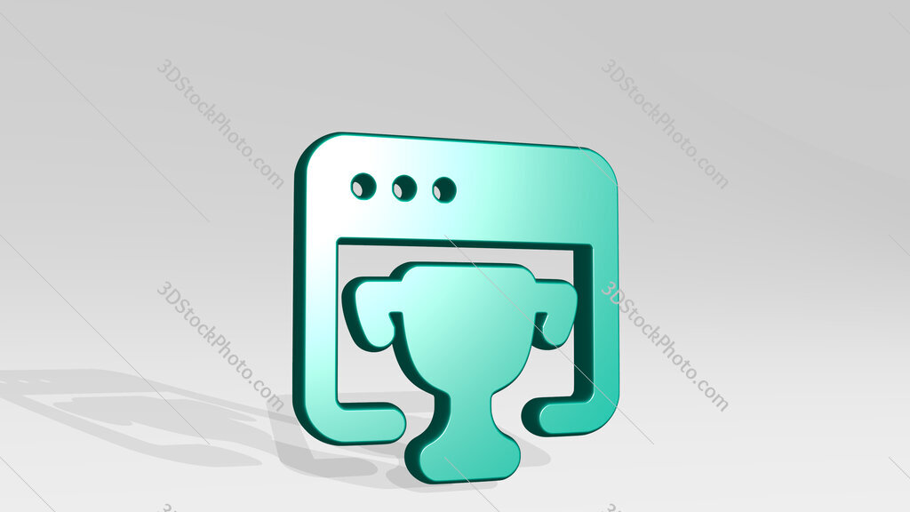 seo trophy 3D icon casting shadow