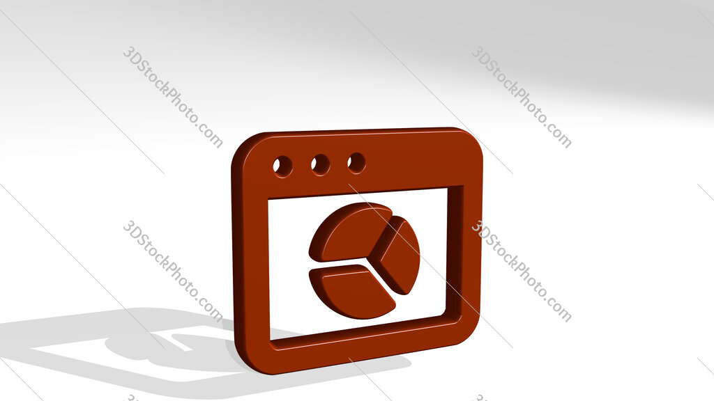 app window pie chart 3D icon casting shadow