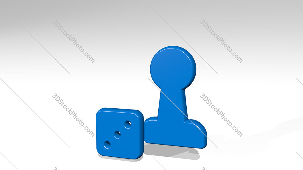 board game dice pawn 3D icon casting shadow