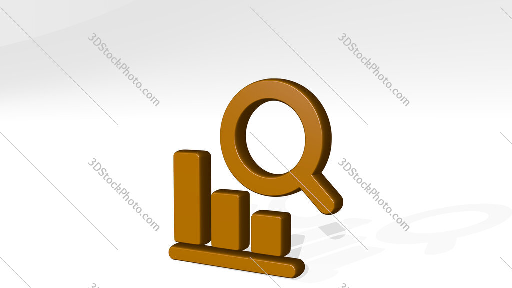 seo search graph first place 3D icon casting shadow