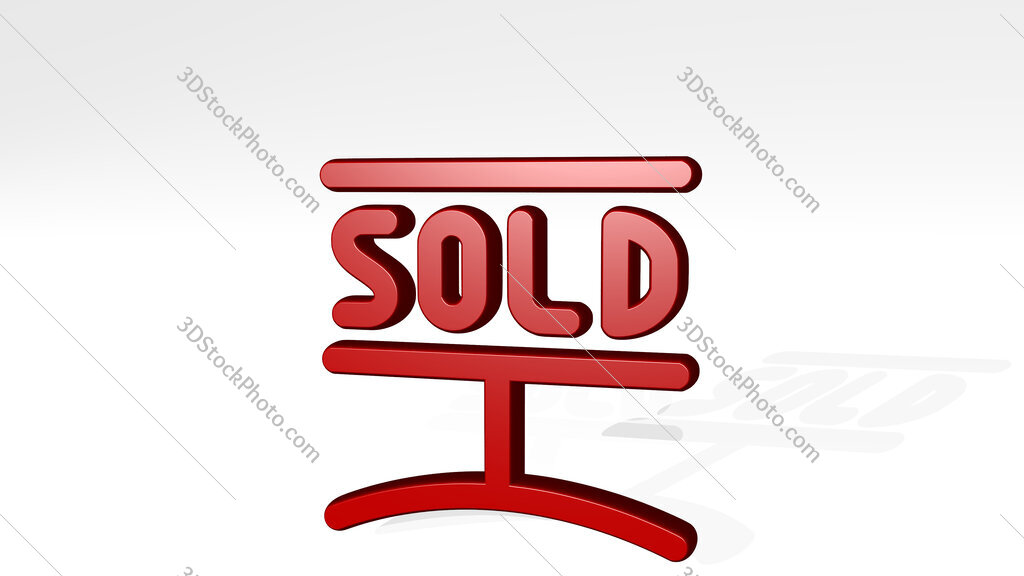 real estate sign sold 3D icon casting shadow