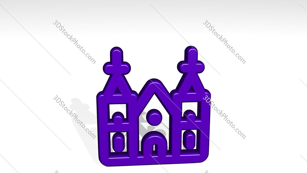 landmark berlin cathedral 3D icon casting shadow