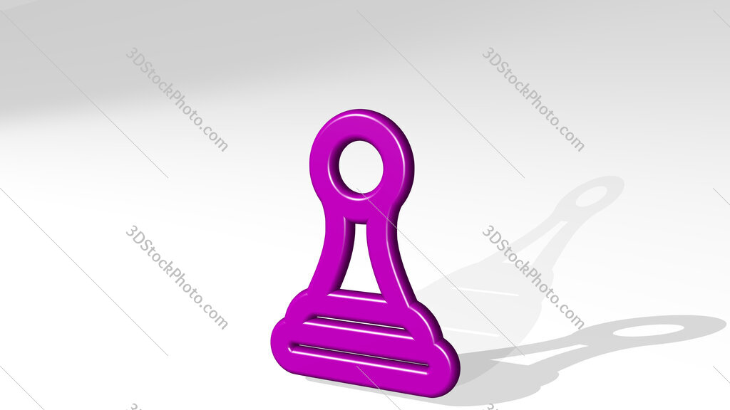 chess pawn 3D icon casting shadow