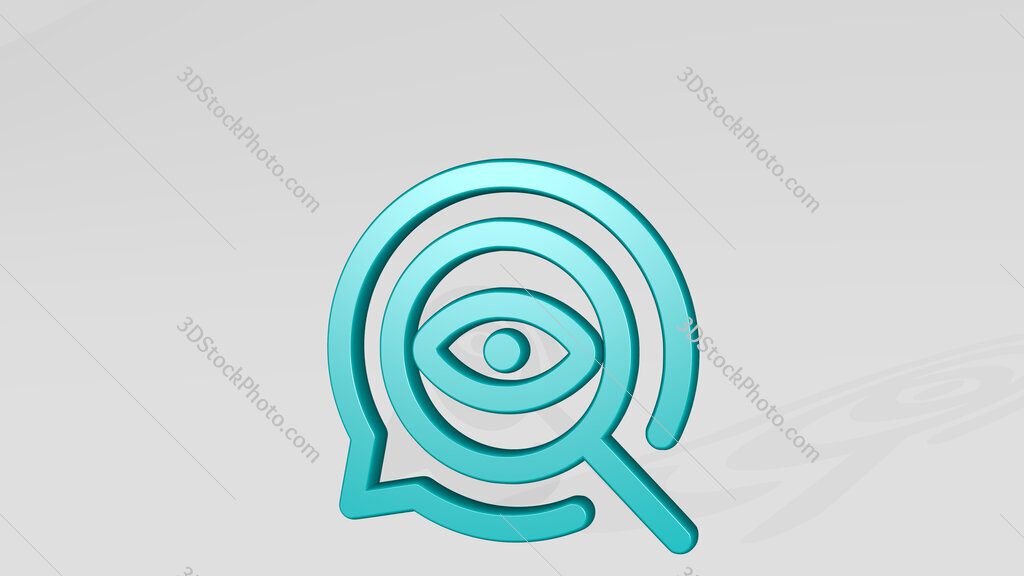seo search eye 3D icon casting shadow