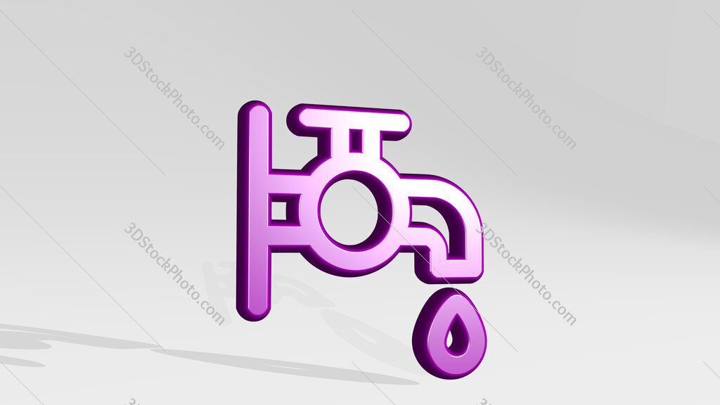 water protection faucet 3D icon casting shadow