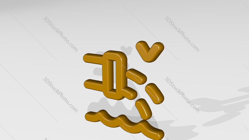 pollution faucet water 3D icon casting shadow