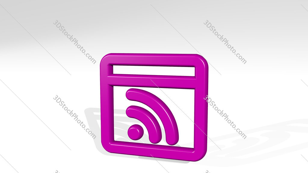 app window rss 3D icon casting shadow