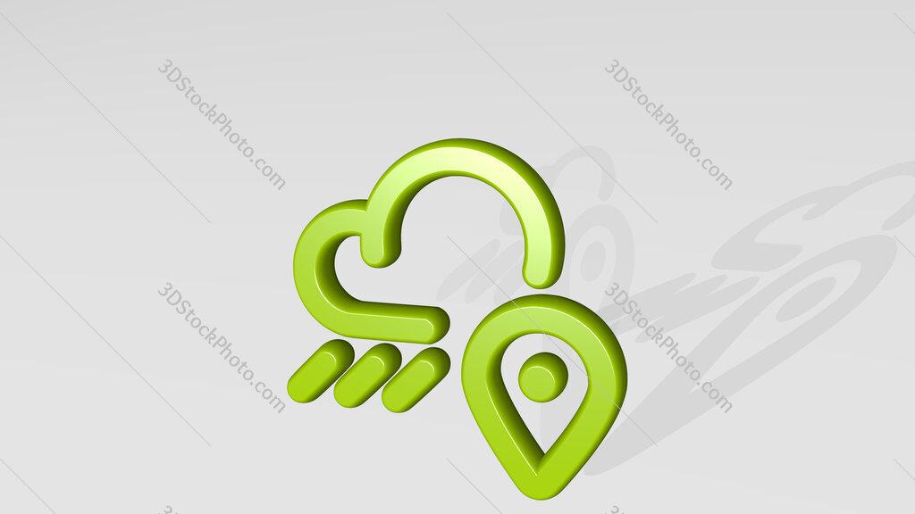 weather app rain location 3D icon casting shadow