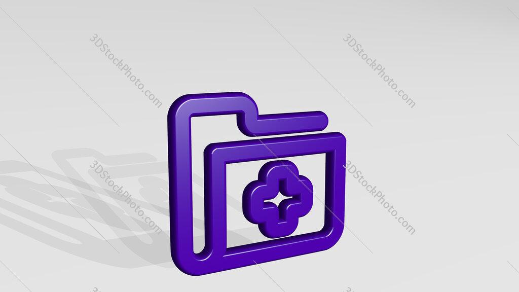 medical folder 3D icon casting shadow