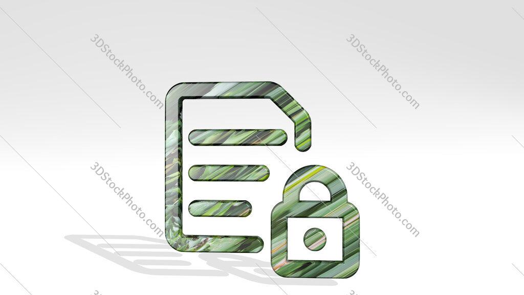 common file text lock 3D icon standing on the floor