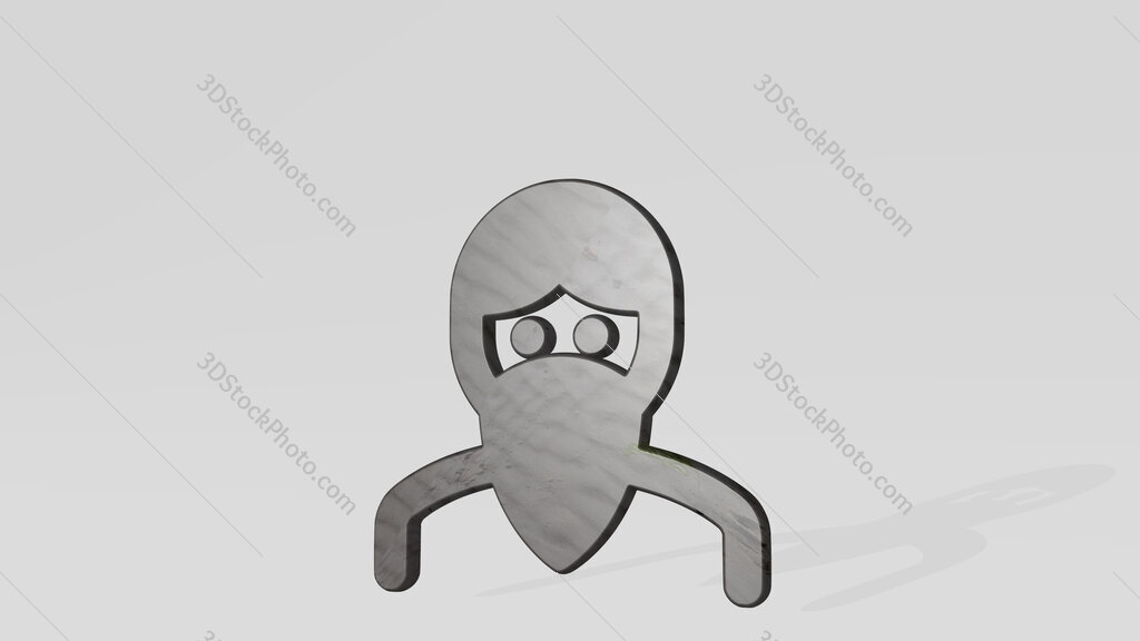crime man riot 3D icon standing on the floor