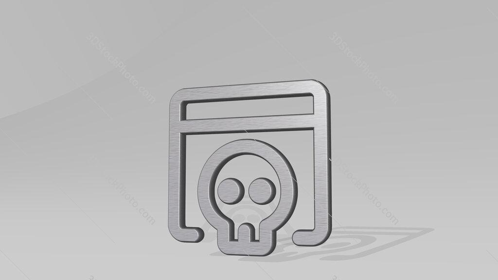 app window skull 3D icon standing on the floor
