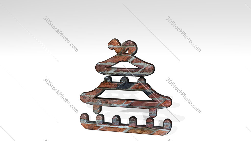 landmark chinese pagoda 3D icon standing on the floor