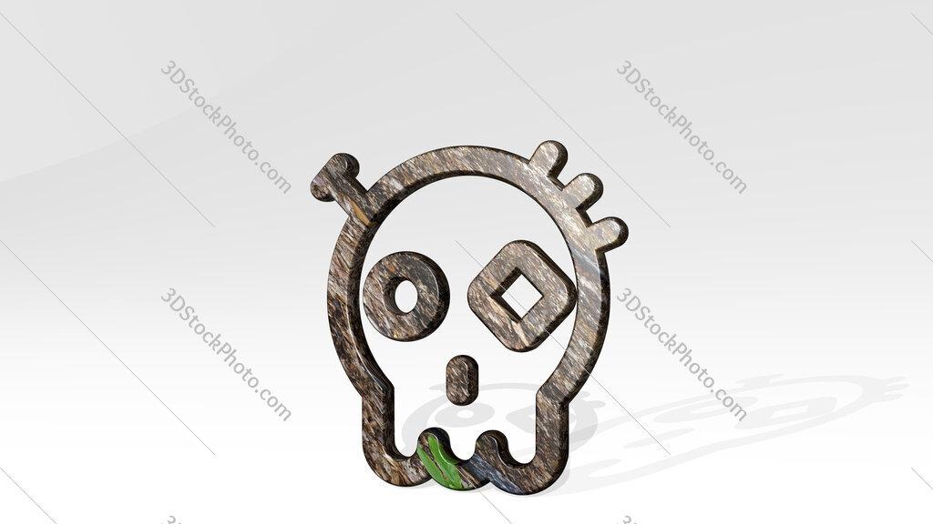 steampunk decoration dia de los muertos 3D icon standing on the floor