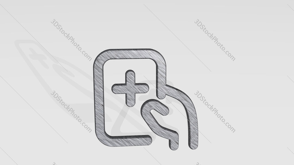 medical app tablet 3D icon standing on the floor