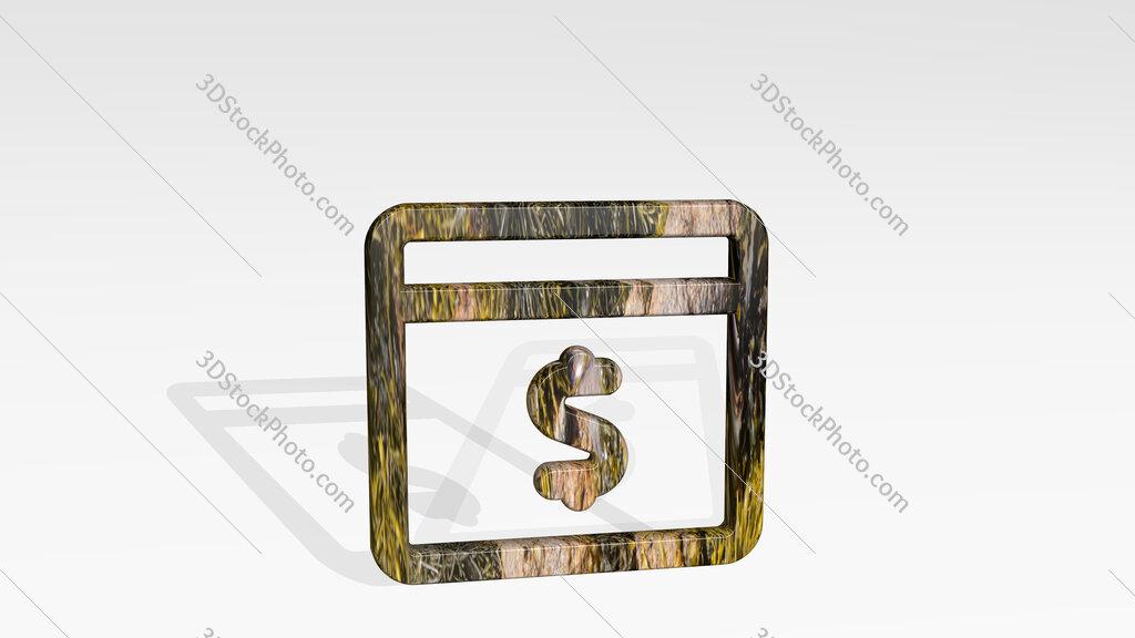 app window cash 3D icon standing on the floor