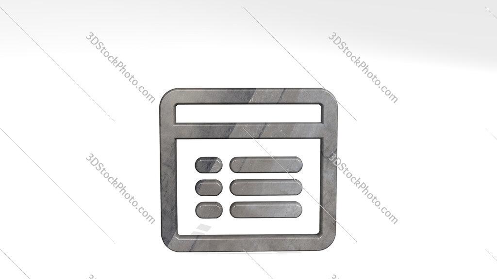 app window text 3D icon standing on the floor