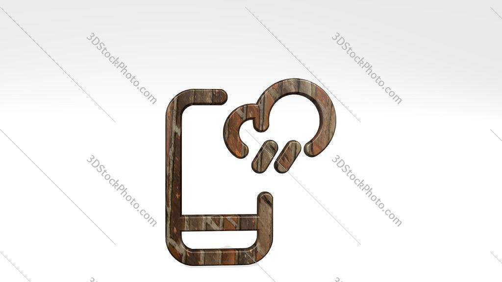 weather app rain 3D icon standing on the floor