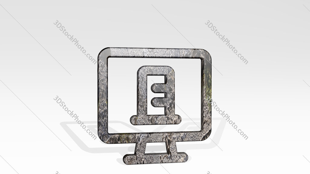 real estate app building monitor 3D icon standing on the floor