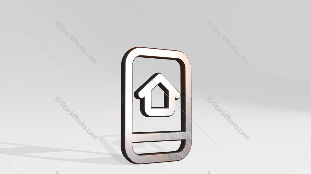 real estate app house smartphone 3D icon standing on the floor