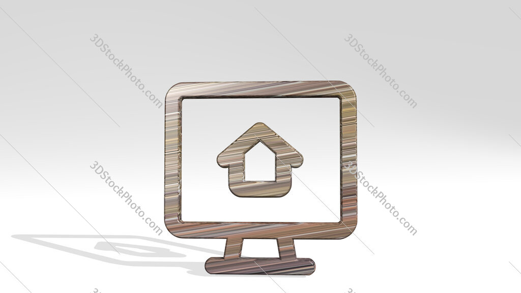real estate app house monitor 3D icon standing on the floor