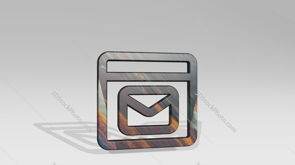 app window mail 3D icon standing on the floor