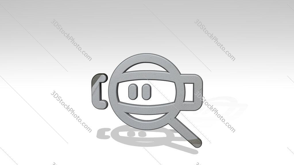 seo zoom 3D icon standing on the floor