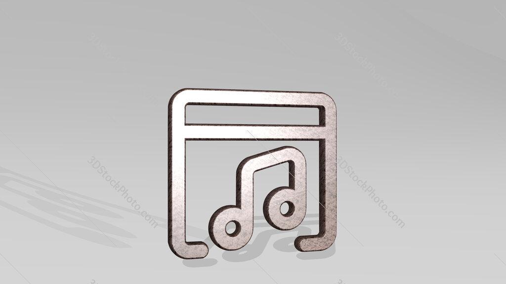 app window music 3D icon standing on the floor