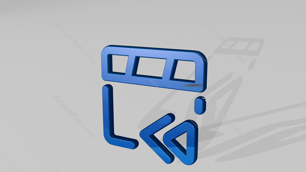 controls movie backward 3D icon standing on the floor