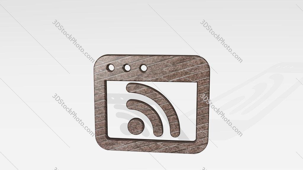 app window rss 3D icon standing on the floor
