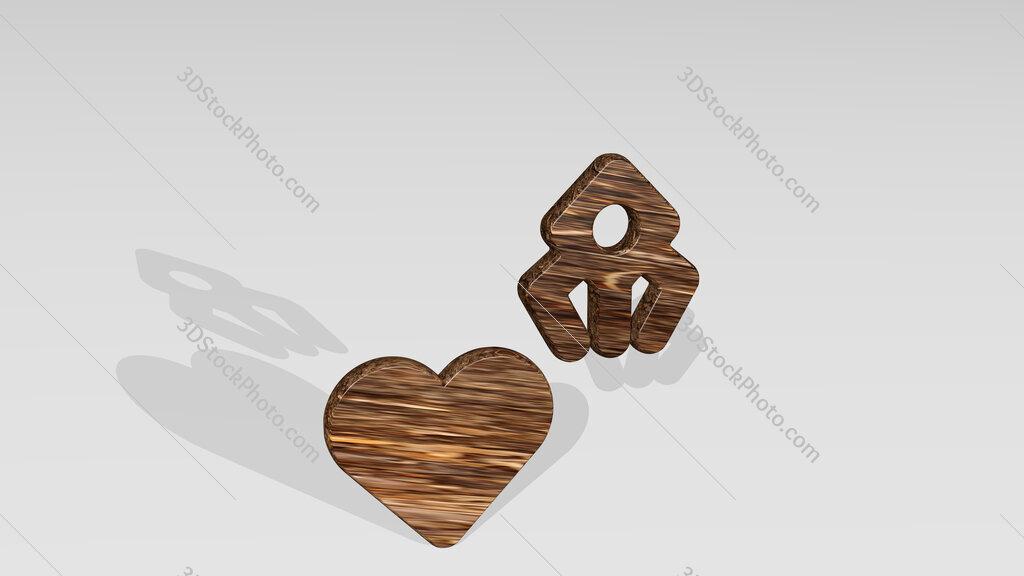 medical nanobot heart 3D icon standing on the floor