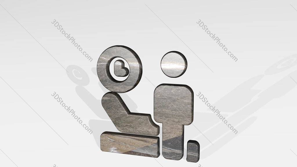 medical room clock man 3D icon standing on the floor