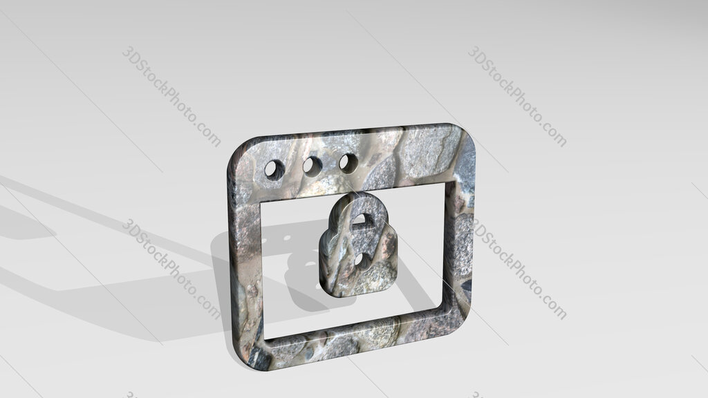 app window lock 3D icon standing on the floor