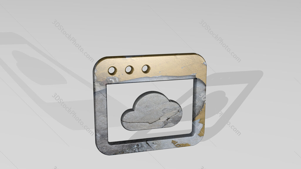 app window cloud 3D icon standing on the floor
