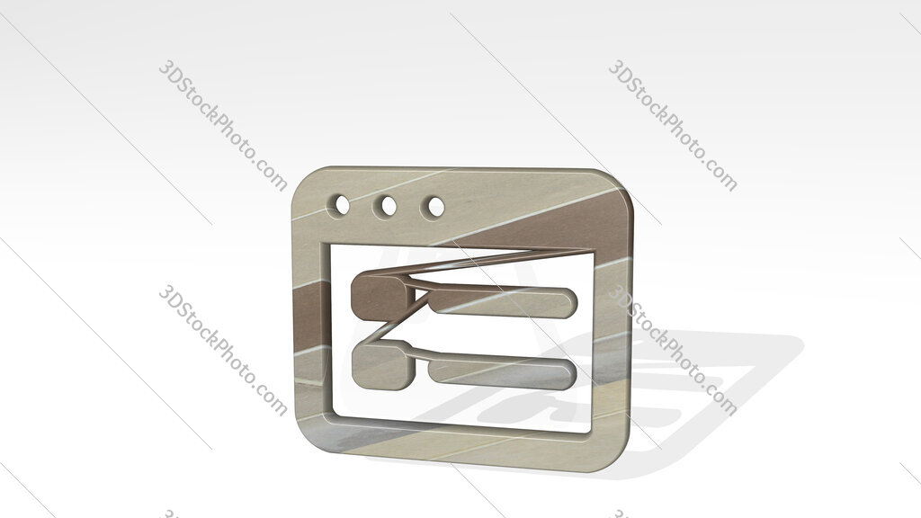 app window layout 3D icon standing on the floor