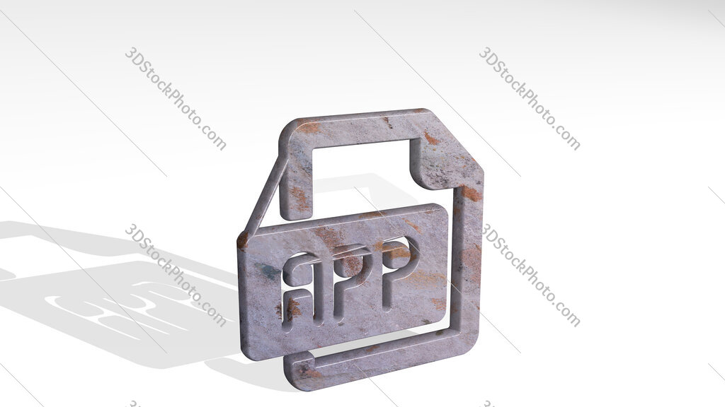 file app 3D icon standing on the floor