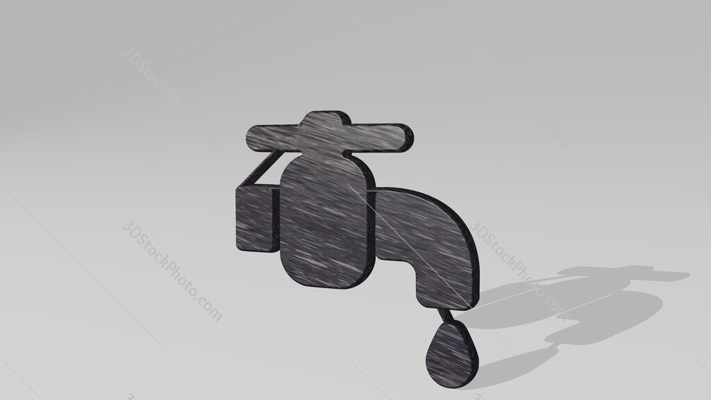 water protection faucet 3D icon standing on the floor