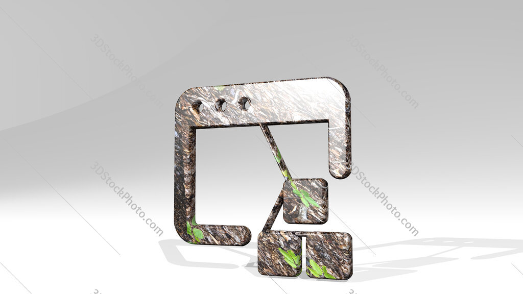 app window module 3D icon standing on the floor