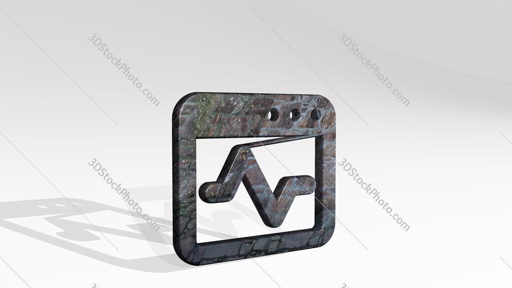 app window graph 3D icon standing on the floor