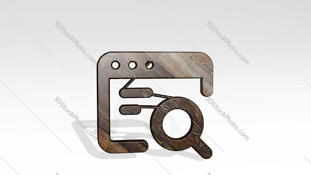 app window search text 3D icon standing on the floor