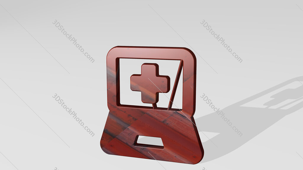 medical app laptop 3D icon standing on the floor