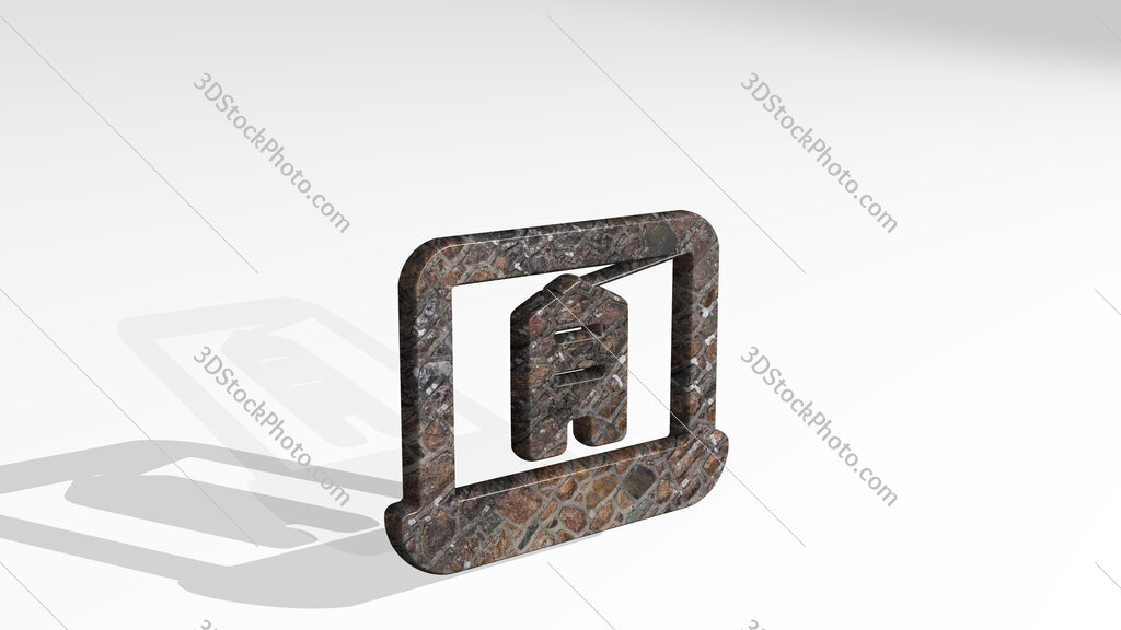 real estate app building laptop 3D icon standing on the floor