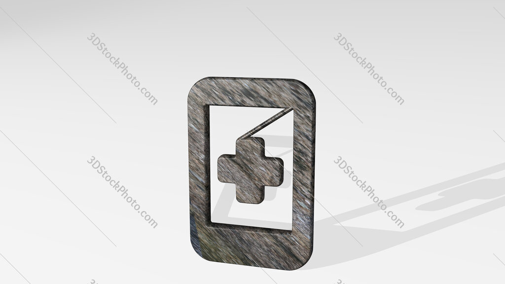medical app smartphone 3D icon standing on the floor