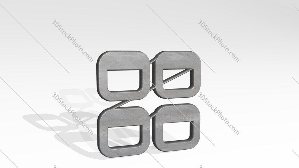 app window four 3D icon standing on the floor
