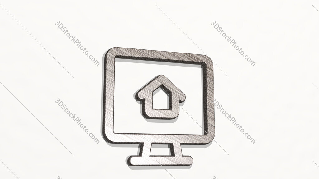 real estate app house monitor 3D icon on the wall