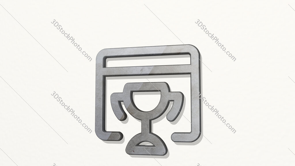 seo trophy 3D icon on the wall