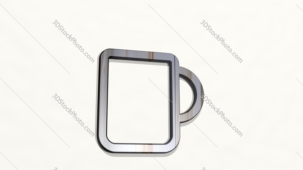 coffee mug 3D icon on the wall