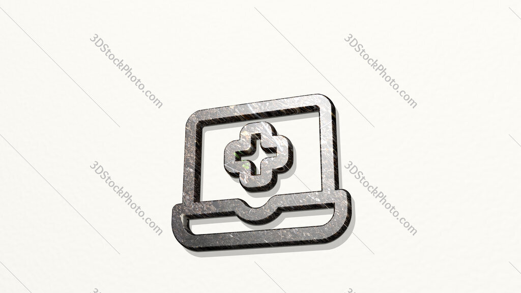 medical app laptop 3D icon on the wall
